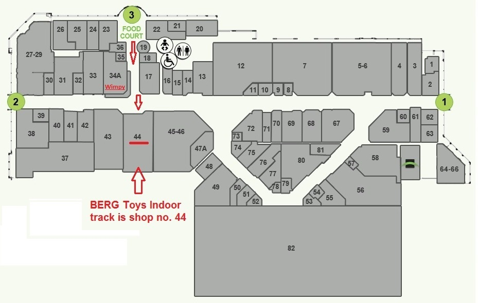 berg toys store map